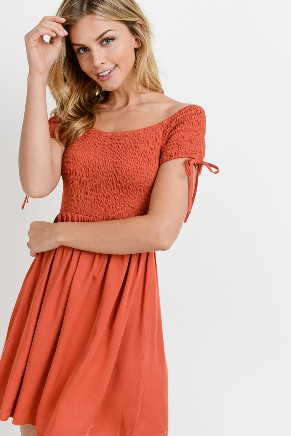 Off Shoulder Smocked Bodice Dress - orangeshine.com
