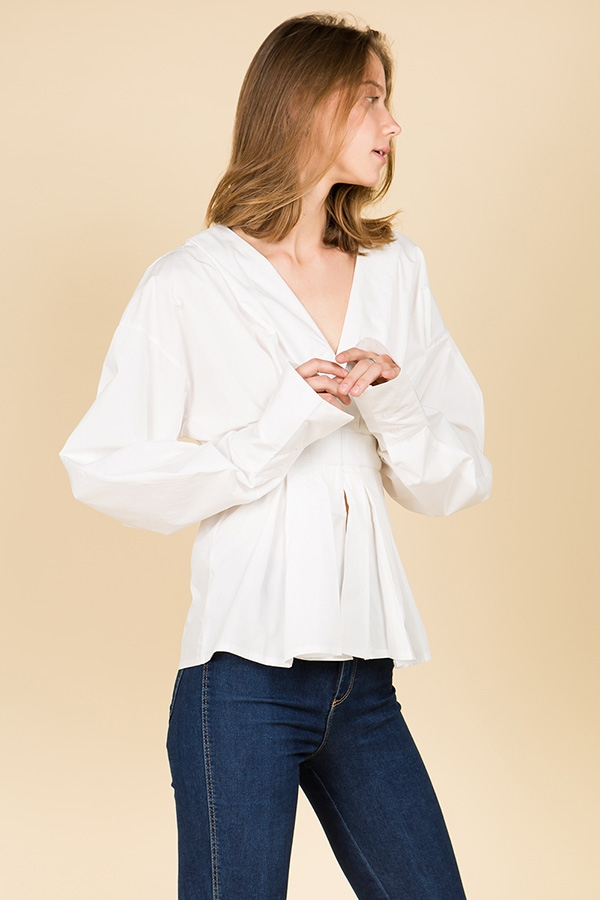 V Neck Tunic Dressy Blouse - orangeshine.com