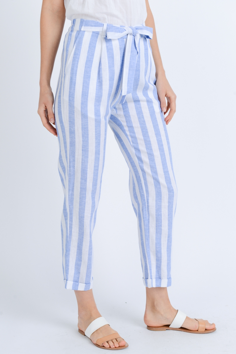 stripe linen ankle pants  - orangeshine.com