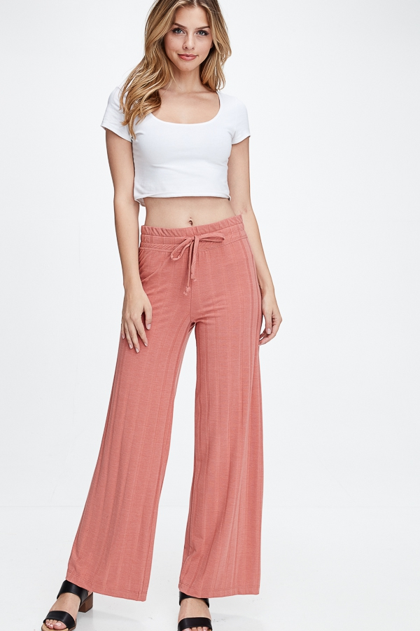 RIBBED WIDE LEG PANTS - orangeshine.com