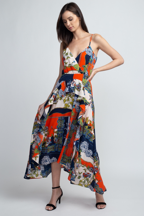 PATCH WORK PRINTED RUFFLE  DRESS - orangeshine.com