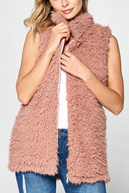 ZIPPER FRONT FAUX FUR CHIC VEST - orangeshine.com