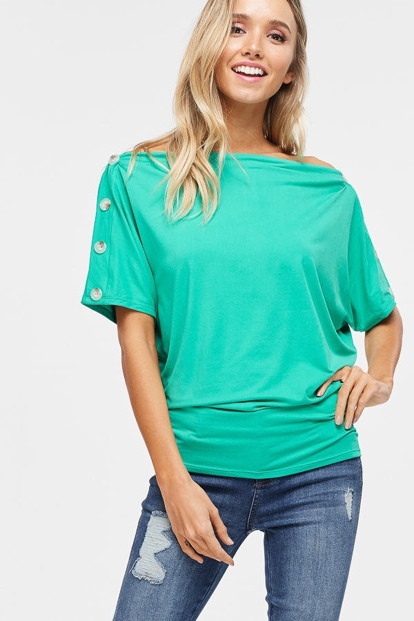 Dolman Sleeve Solid Top  - orangeshine.com