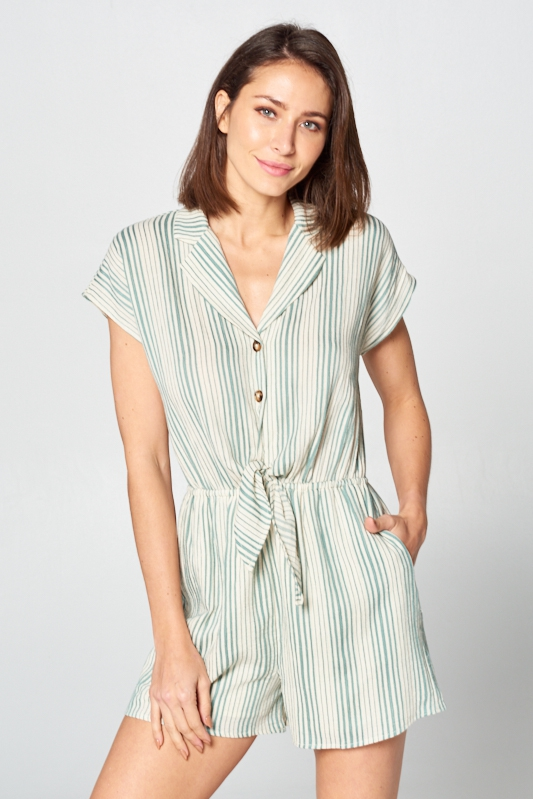 Stripe Short Sleeve Romper  - orangeshine.com