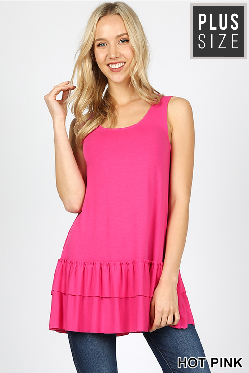 PLUS PREMIUM SLEEVELESS RUFFLE TOP - orangeshine.com