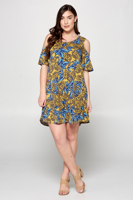 Cold Shoulder Tunic Dress - orangeshine.com