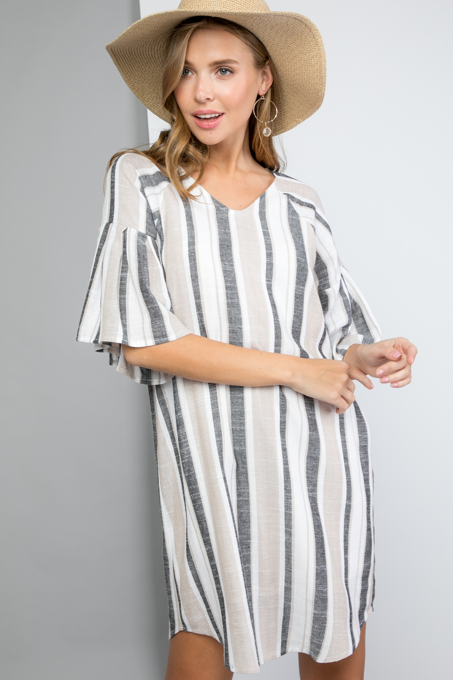 Linen Dress V-neck with Pleated Bell - orangeshine.com