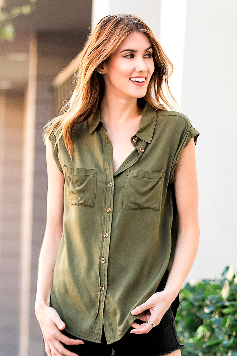 OLIVE VOILE DOUBLE ROLLED EDGE TOP - orangeshine.com
