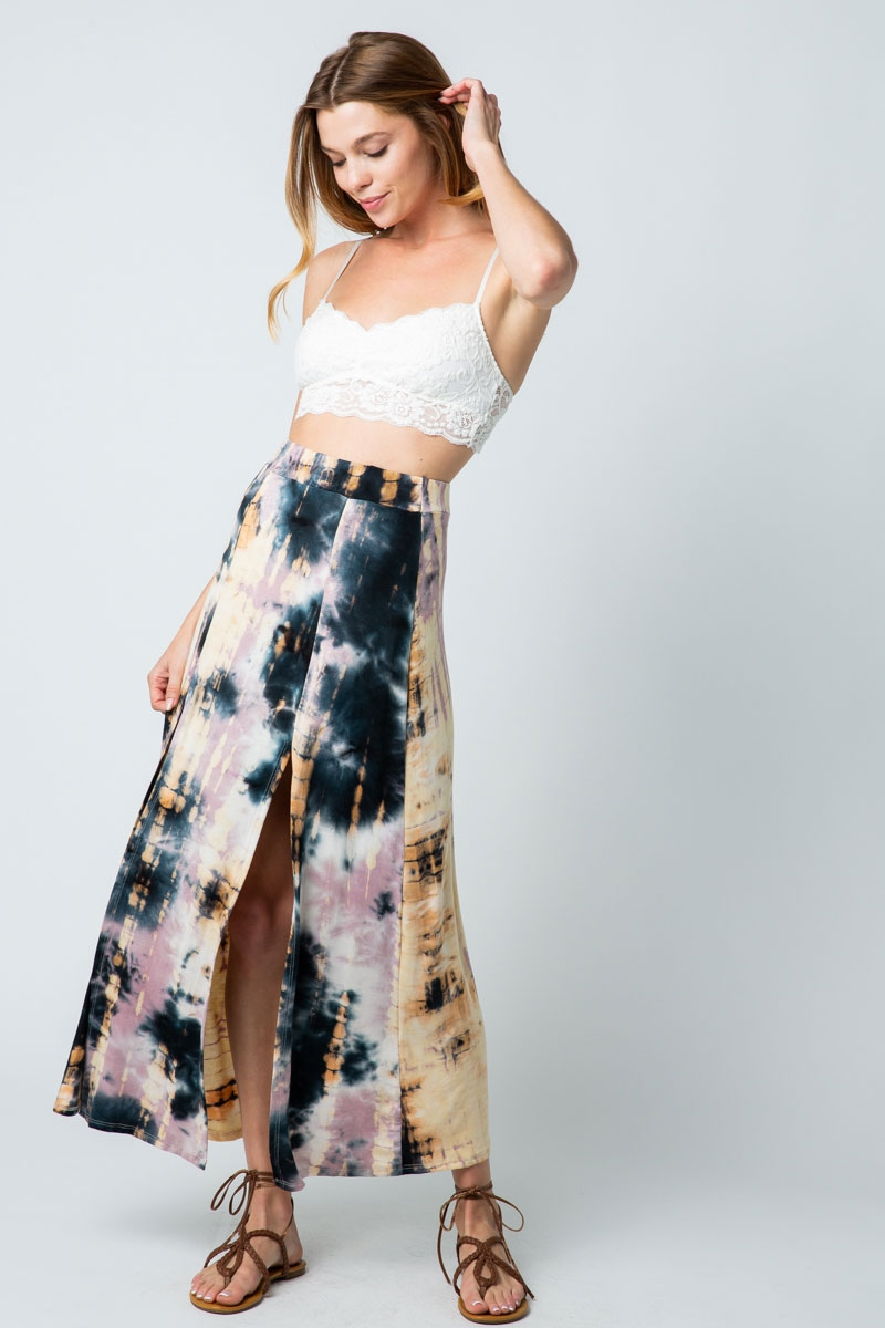 TIE DYE MAXI SKIRT WITH HIGH SLITS  - orangeshine.com