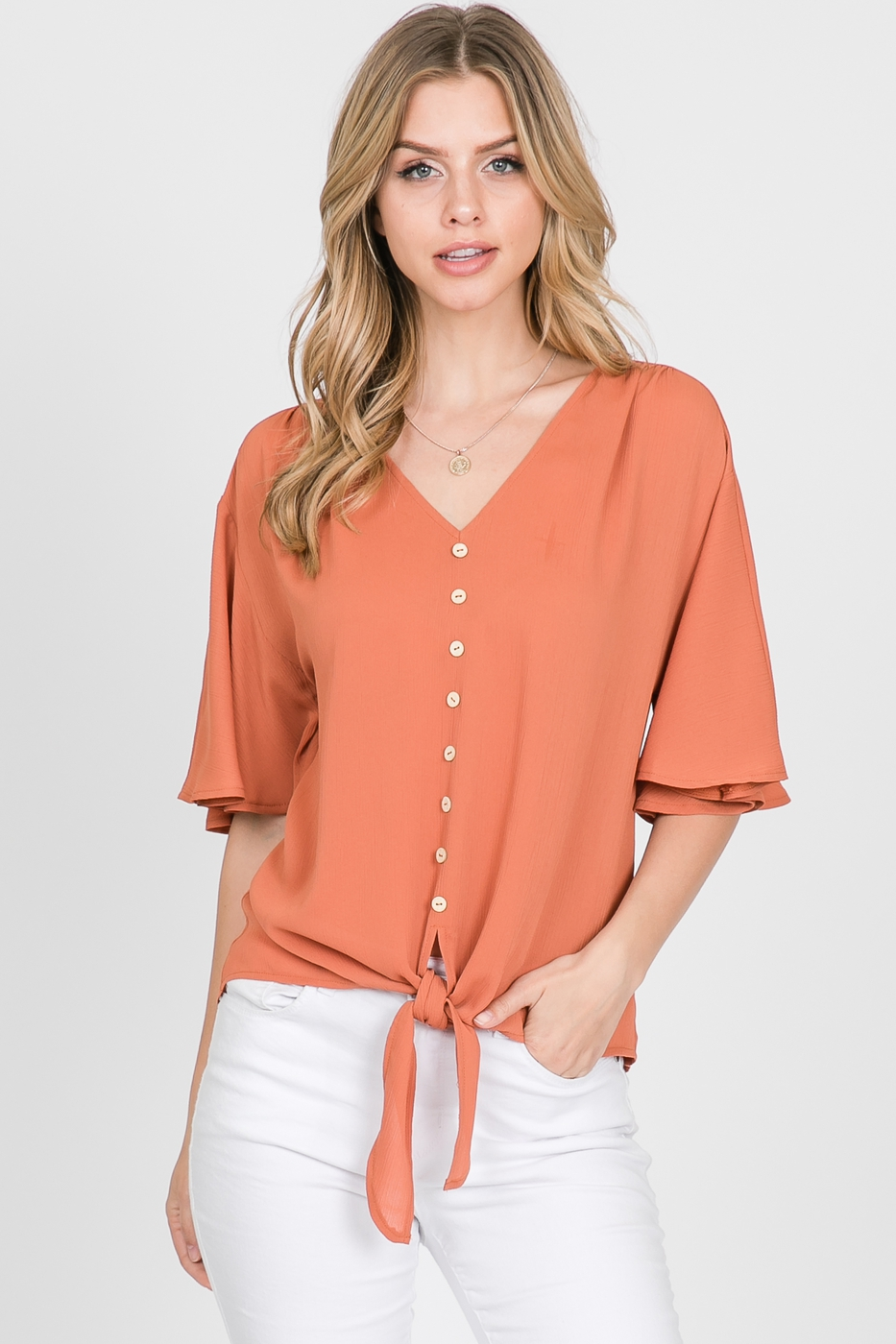 Solid Short Sleeve Button Down Top - orangeshine.com