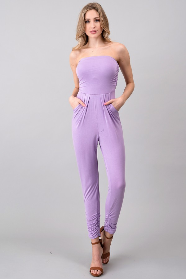 TUBE TOP SHIRRING JUMPSUIT - orangeshine.com