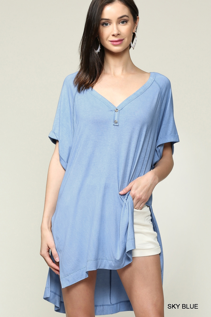 Rolled Up Short Sleeve V-Neck Tunic  - orangeshine.com