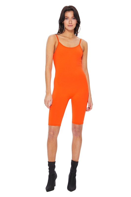 PLAIN TANK TOP BIKER SHORT JUMPSUIT  - orangeshine.com