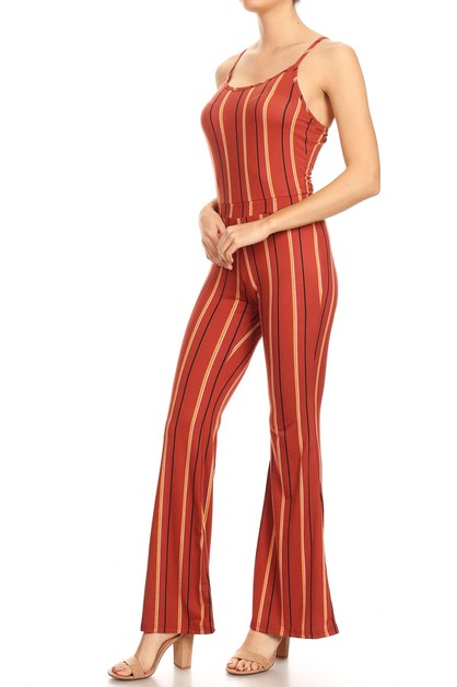 Stripes Flare Jumpsuit With Cami Top - orangeshine.com