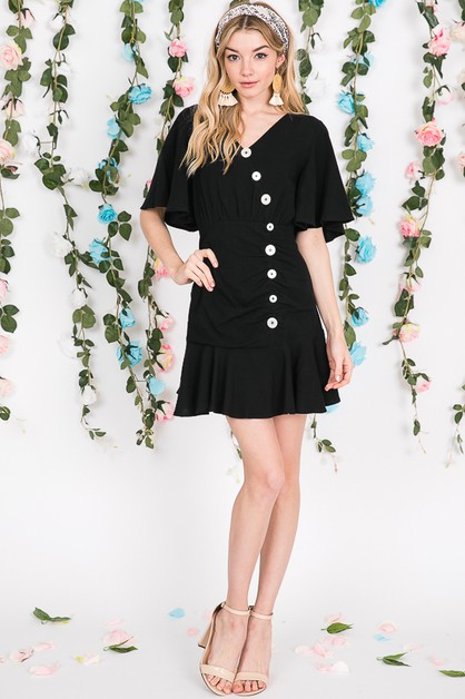 BUTTON DOWN RUFFLE DRESS  - orangeshine.com