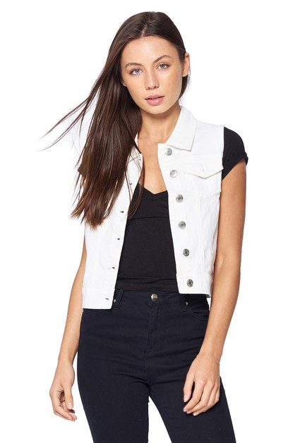 LADY DENIM VEST BUTTON JEAN TOP - orangeshine.com