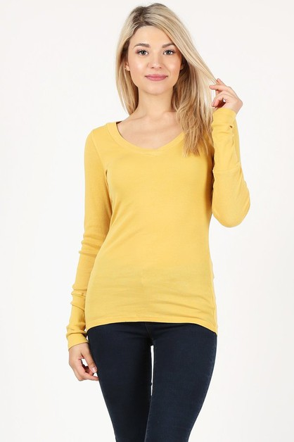 pima cotton V-neck long sleeve top  - orangeshine.com