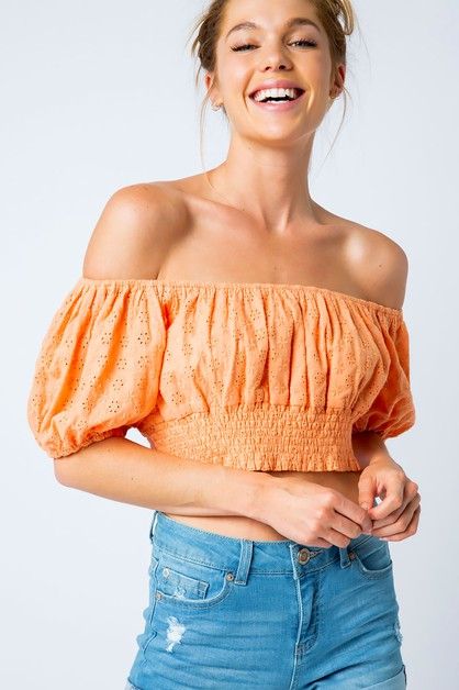 BRODERIE OFF SHOULDER CROP TOP - orangeshine.com