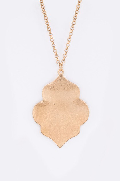 Brushed Metal Pendant Necklace - orangeshine.com