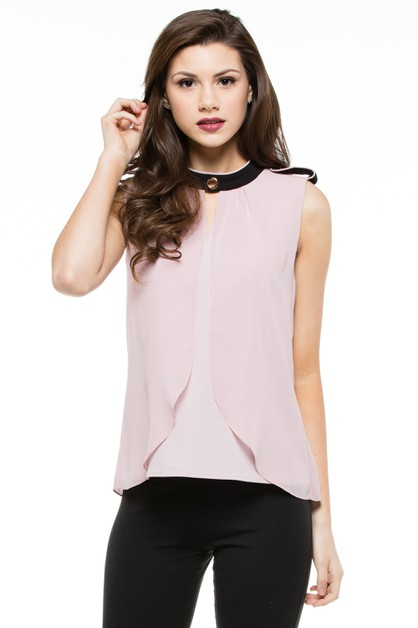 Sleeveless Chiffon Blouse Top - orangeshine.com