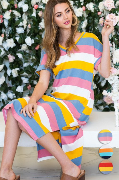 wide stripe pattern long dress  - orangeshine.com