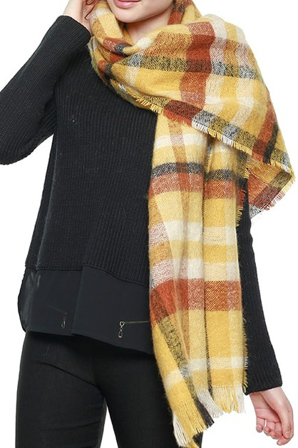 MULTI COLORED BOLD PLAID SCARF - orangeshine.com