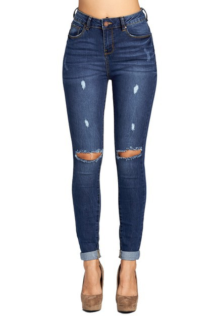 LADY SKINNY JEANS KNEE RIPPED - orangeshine.com