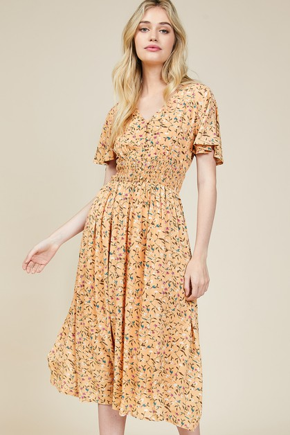 Floral Flyaway Smocking Dress - orangeshine.com