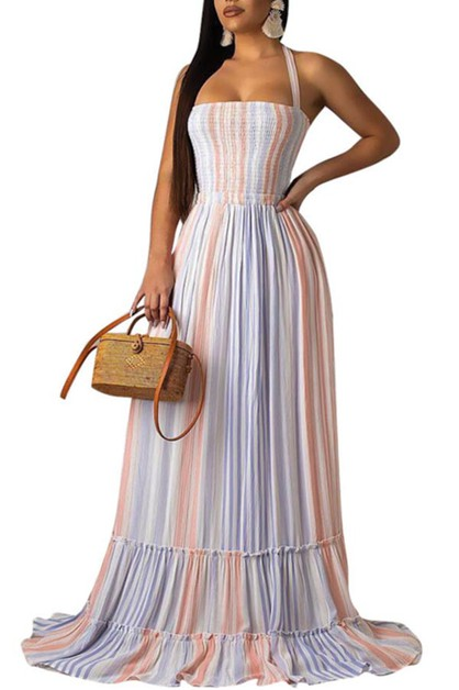 STRIPE RUCHED MAXI DRESS SQUARE NECK - orangeshine.com
