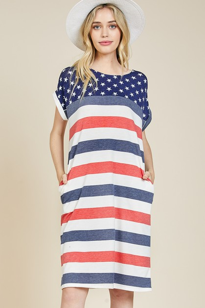 Patriotic Dolman Dress - orangeshine.com