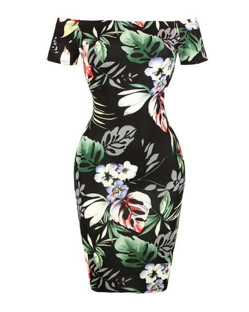 TROPICAL FLORAL PRINT MINI DRESS - orangeshine.com