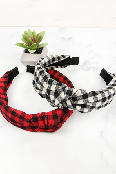 PLAID KNOTTED FABRIC COATED HAIR BAN - orangeshine.com