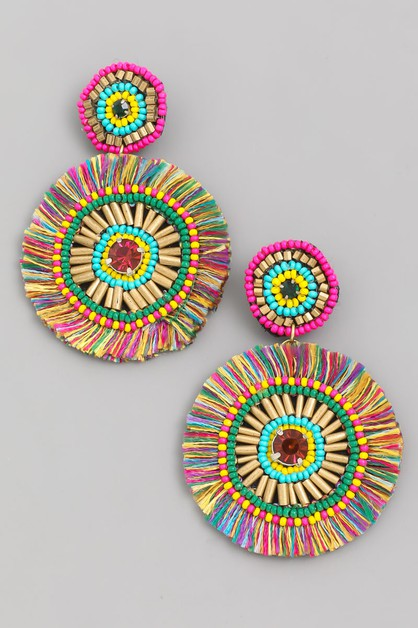 Circle Fan Drop Earrings - orangeshine.com