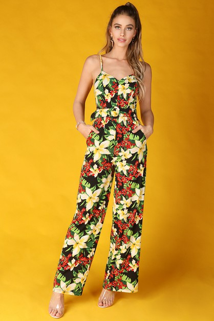 Hawaiian Print Belted Jumpsuit - orangeshine.com