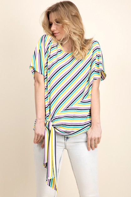 STRIPE COMBO DOLMAN SLEEVE RIBBED - orangeshine.com