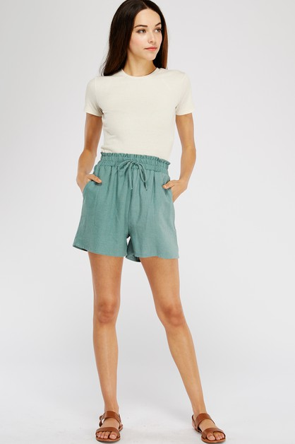 SMOCKED HIGHWAISTED LINEN SHORTS - orangeshine.com