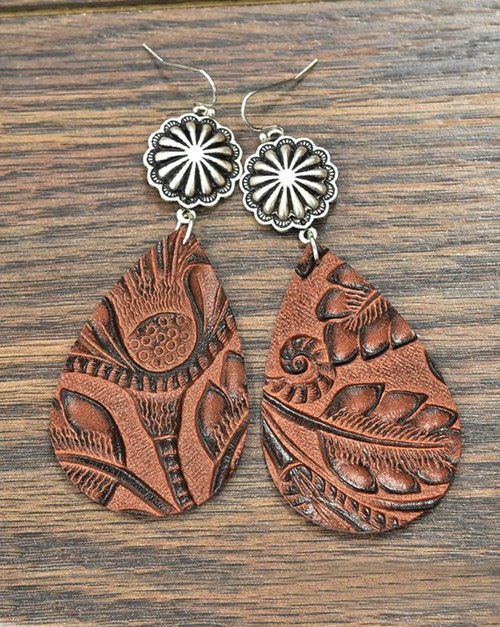 Tooled Leather Earrings - orangeshine.com