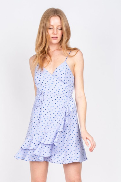 POLKA DOT WRAP DRESS WITH RUFFLE HEM - orangeshine.com
