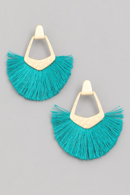 Tassel Fan Drop Earrings - orangeshine.com