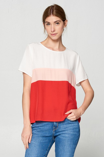 COLOR BLOCK WOVEN TOP  - orangeshine.com