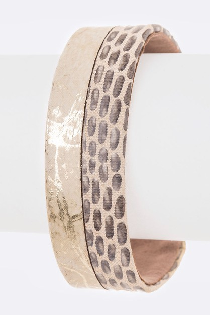 Mix Texture Leather Cuff - orangeshine.com