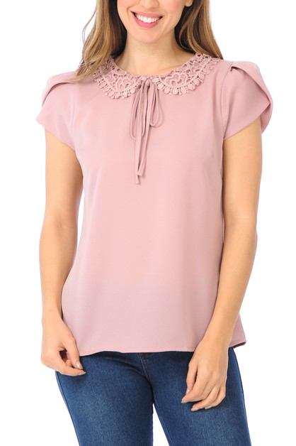 Lace peter pan collar top - orangeshine.com