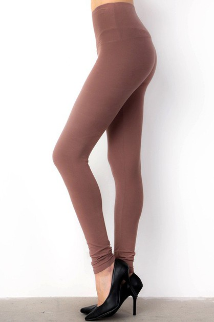 SOLID BRUSHED HIGH WAIStT LEGGINGS  - orangeshine.com
