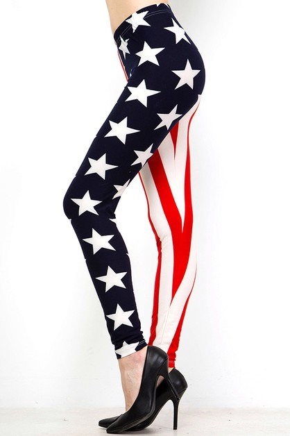 AMERICAN FLAG PRINT BRUSHED FULL LEG - orangeshine.com