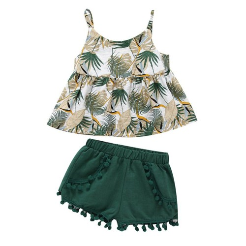 2PC  Leaf print top shorts set - orangeshine.com