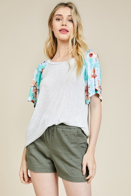 Floral Ruffle Sleeve Top - orangeshine.com