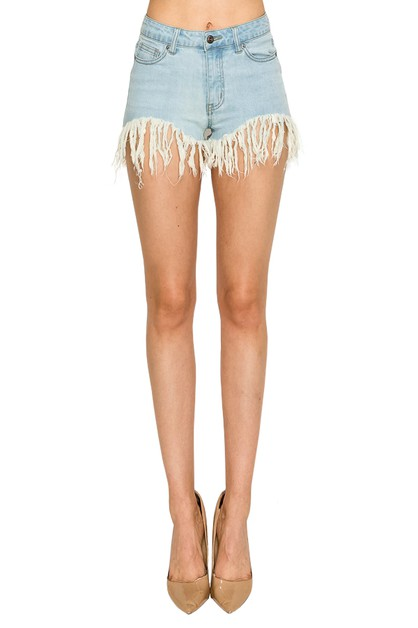 MID RISE SHORTS WITH FRAY DETAIL - orangeshine.com
