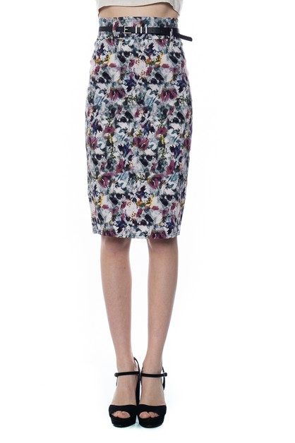 a2638533e PRINT PENCIL SKIRT WITH BELT - orangeshine.com