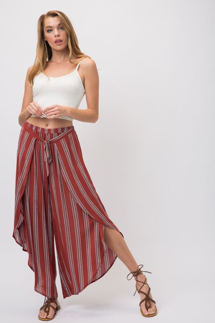 STRIPED SPLIT TULIP PALAZZO PANTS - orangeshine.com
