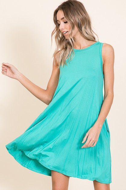 RELAXED SLEEVELESS SWING DRESS - orangeshine.com